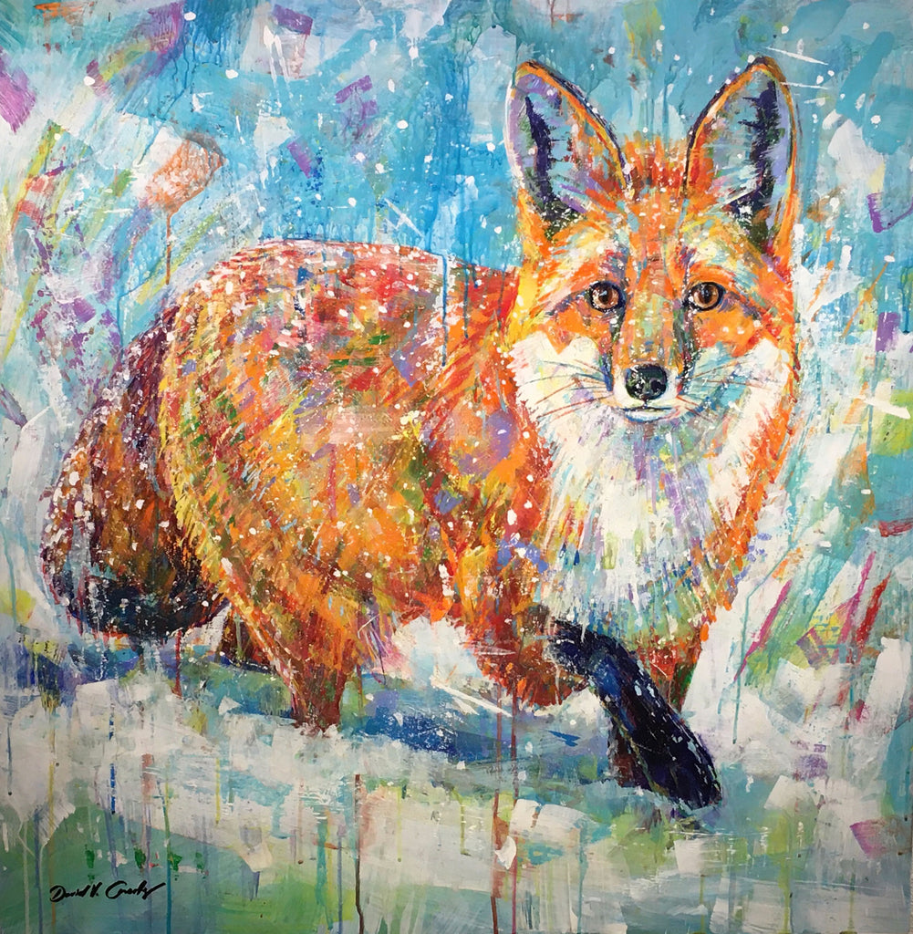 Morning Encounter original acrylic on panel fox painting by Colorado based artist David V Gonzales