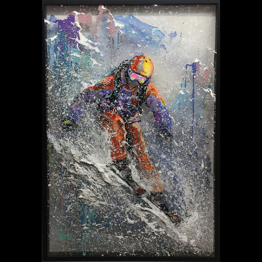 Mountain Delight original ski painting by artist 2wild rozenvain for sale