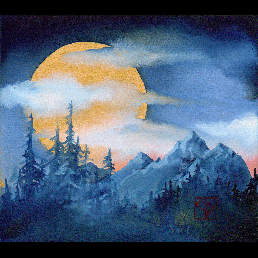 Mountain Mystery original mountain landscape super moon painting by artist Kay Stratman