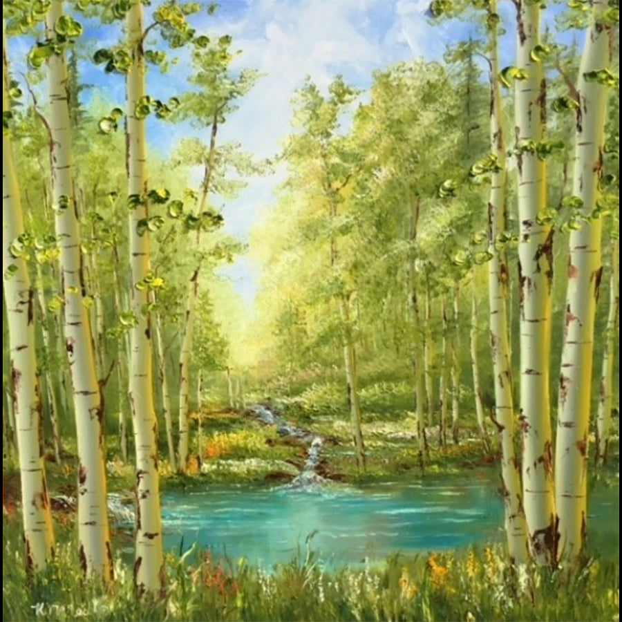 mountain oasis aspen painting by artist katherine mcneill