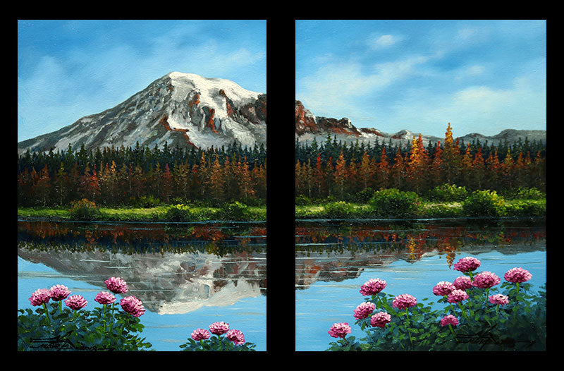 Mountain Reflection original oil on canvas landscape painting by artist Mario Jung