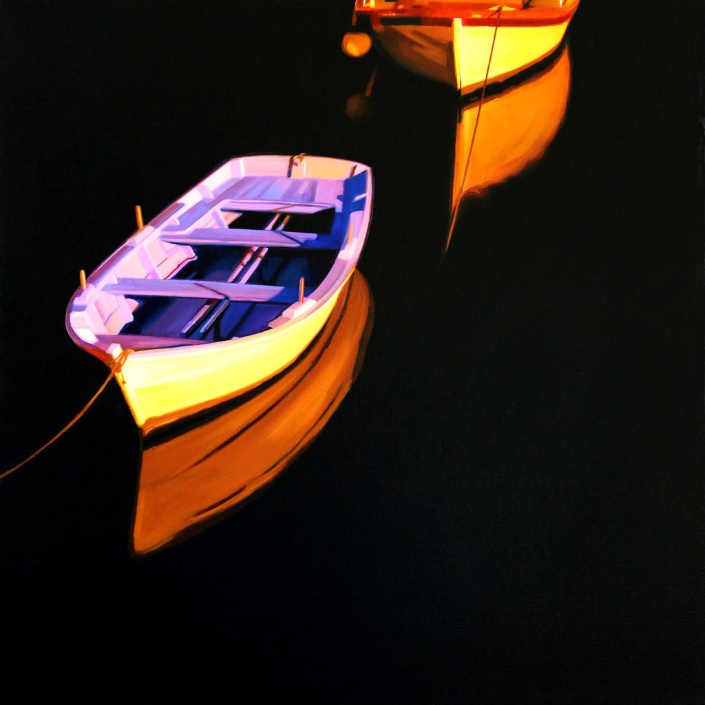 Night Harbor original oil on canvas boat painting by Colorado artist Roger Hayden Johnson