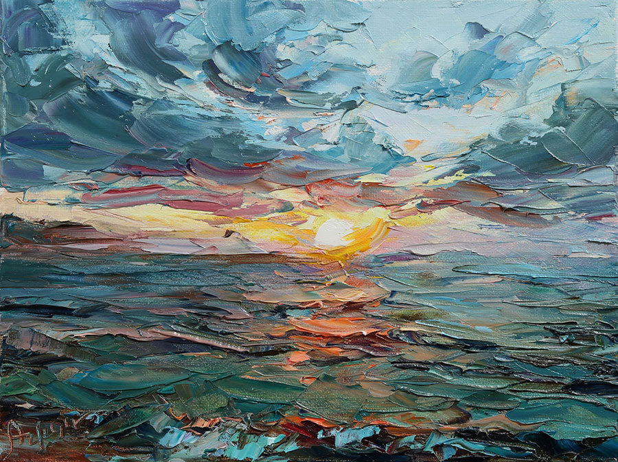 Ocean Sunset original oil on canvas painting by Denver Colorado artist Lyudmila Agrich