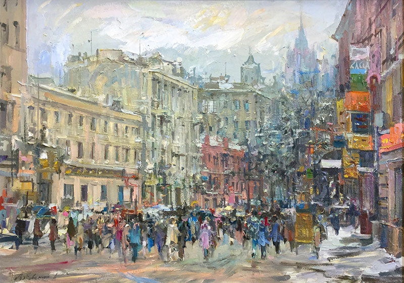 Old Arbat View Moscow is an original oil on canvas painting by russian artist Alexander Dubovsky