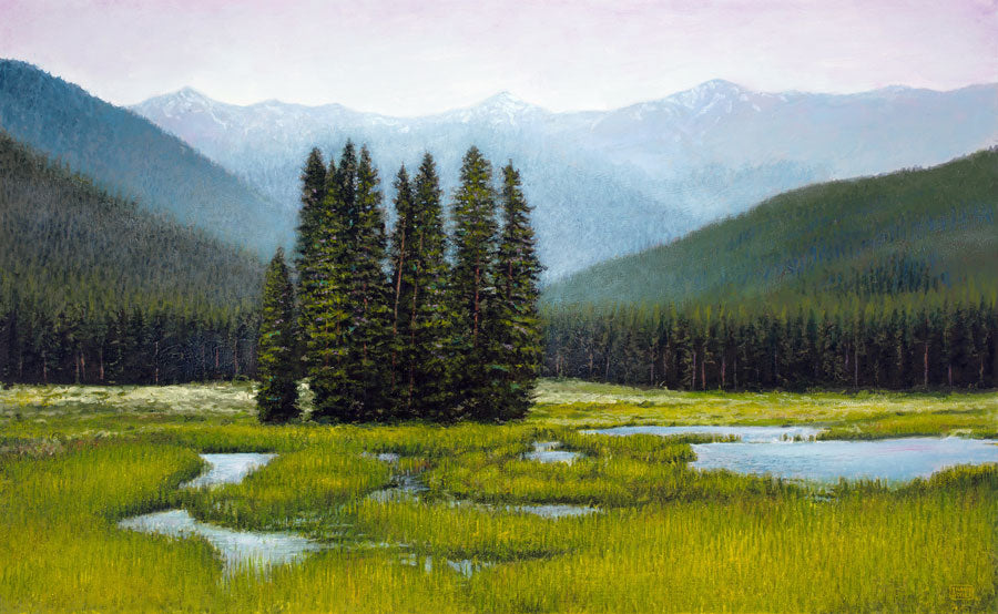 Outside Tin Cup original mountain landscape painting by Thane Gorek for sale at Raitman Art Galleries located in Breckenridge and Vail Colorado