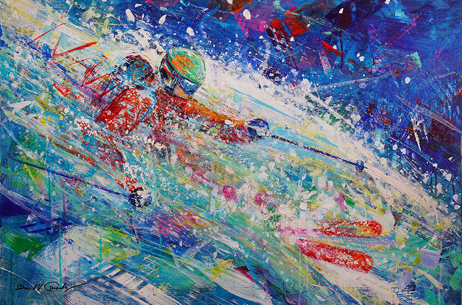Powder Splash original ski painting by artist David Gonzales