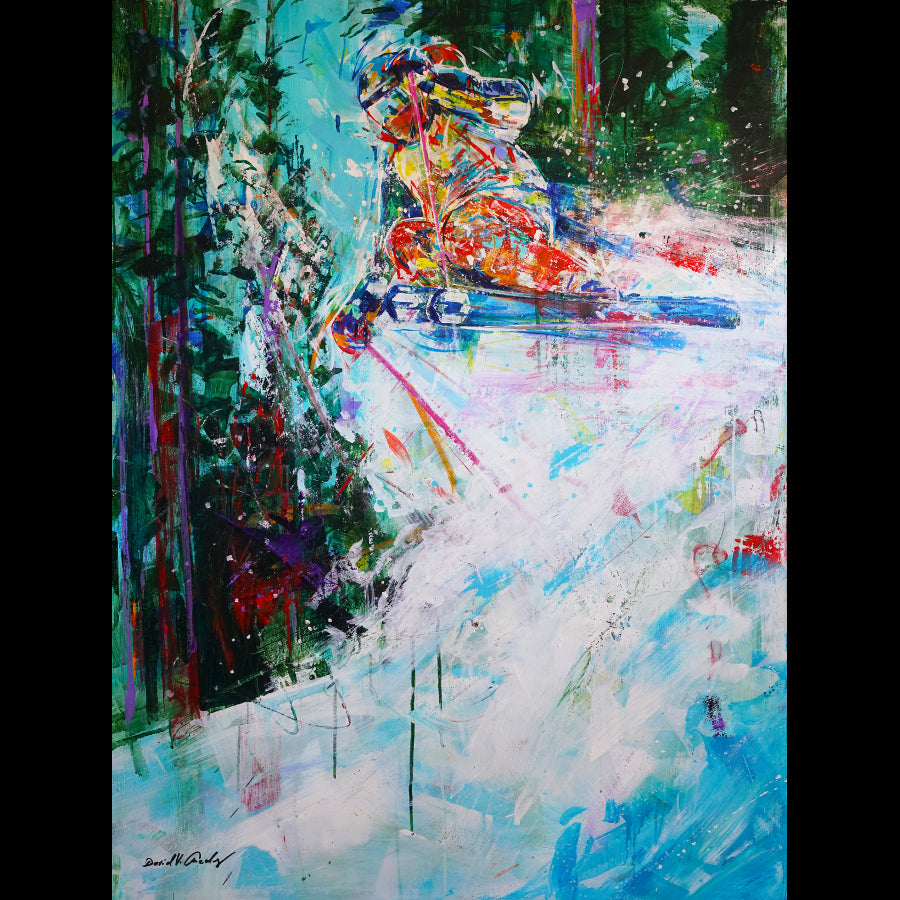 Powder Craze Chris Anthony Ski painting by artist David Gonzales in Vail gallery