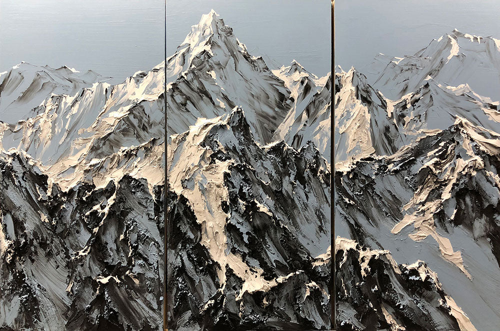 Barak Rozenvain Original Painting of Mountains-Panoramic View
