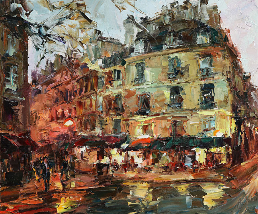 Parisian Etude original oil on canvas painting by Denver Colorado artist Lyudmila Agirch
