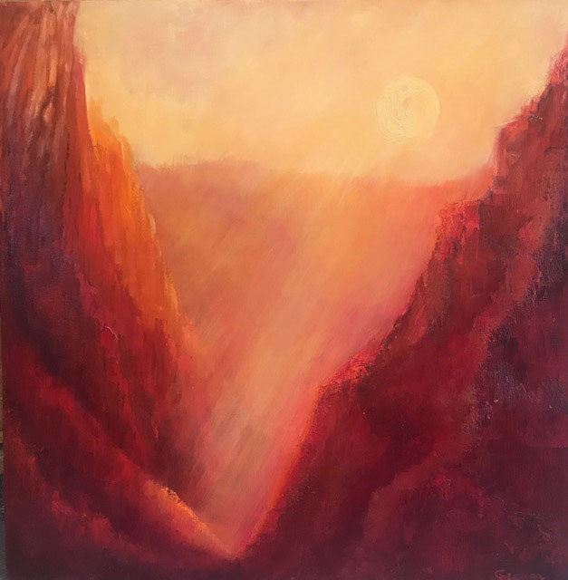 Passions Glow original oil on canvas painting by Colorado artist Judy Greenan canyon impressionist impressionism