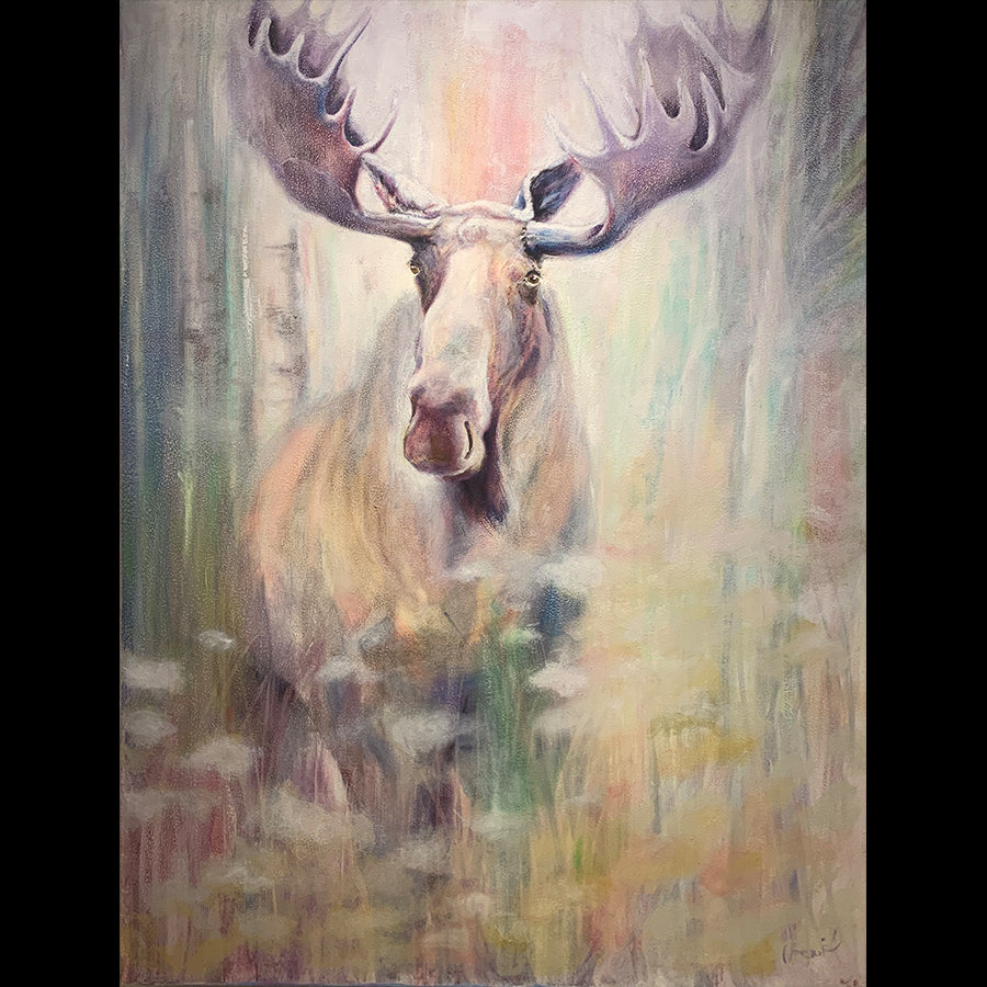Pastel Morning original moose painting by artist noemi kosmowski