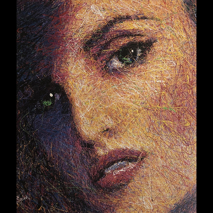 Artist Andy Baird Original Drip Portrait Painting of Penelope Cruz