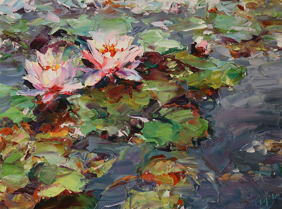 Pink Lotuses original oil on canvas flower painting by artist Lyudmila Agrich