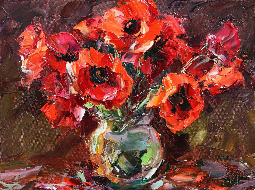 Poppies in Glass Vase original oil on canvas painting by Colorado artist Lyudmila Agrich