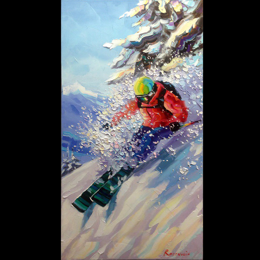 Powder Day original oil on canvas painting by artist Michael Rozenvain
