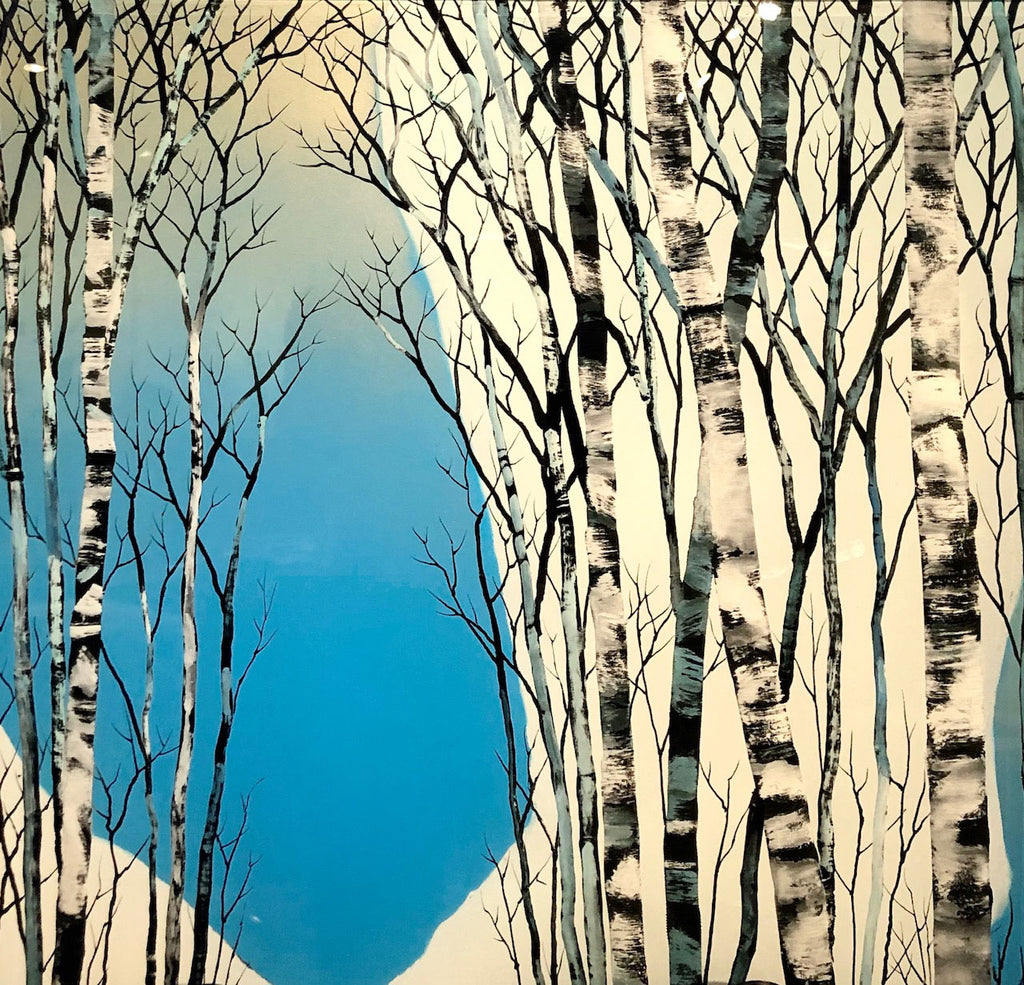 Powder Day original aspen tree painting on a hand carved cast acrylic canvas by artist Christopher Owen Nelson