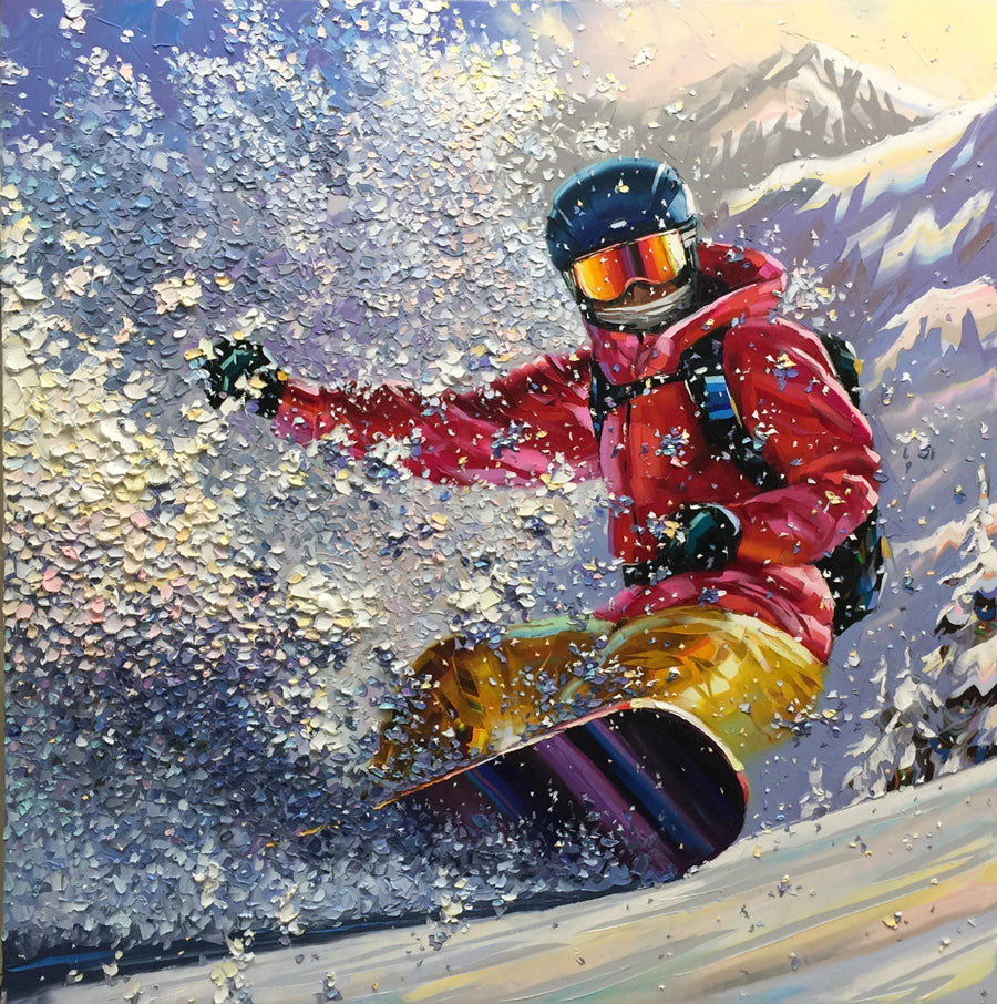 Powder Shred original snowboarder painting by artist Michael Rozenvain for sale