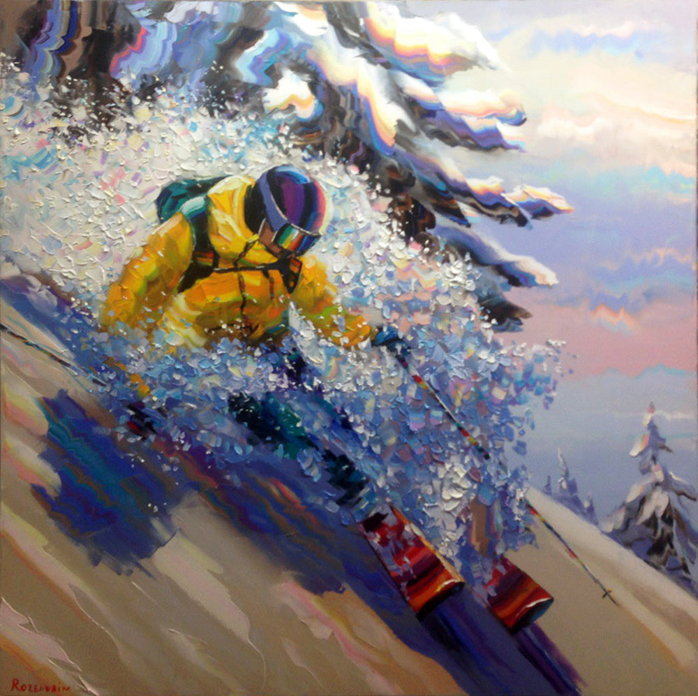 Powder Paradise original oil on canvas painting by artist Michael Rozenvain