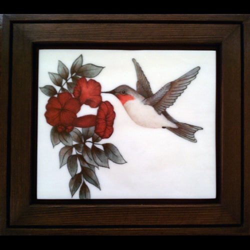 Precious Moments original glass fired humming bird painting by artist Gary Vigen
