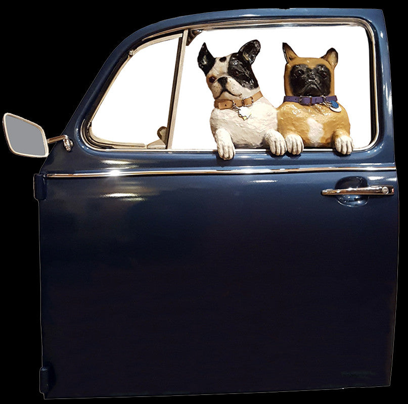 Pug and Frenchie in a Blue VW Door