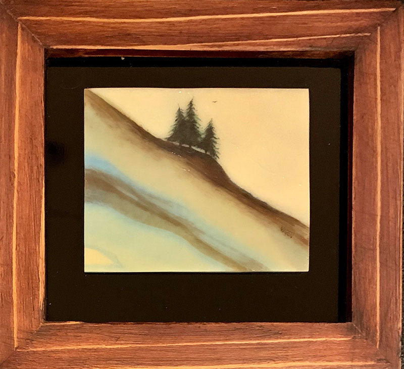 Quiet Spot original glass fired powder painting by Colorado artist Gary Vigen