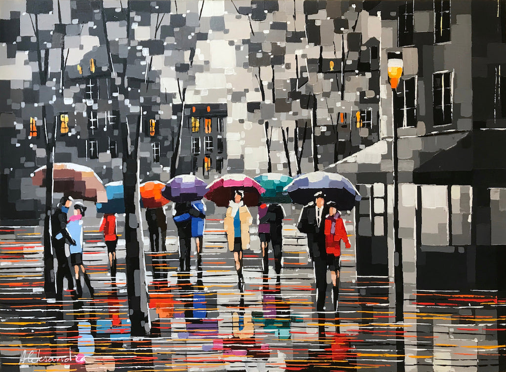 Rainy Day With My Love original acrylic on canvas painting by artist Aleksandra Rozenvain