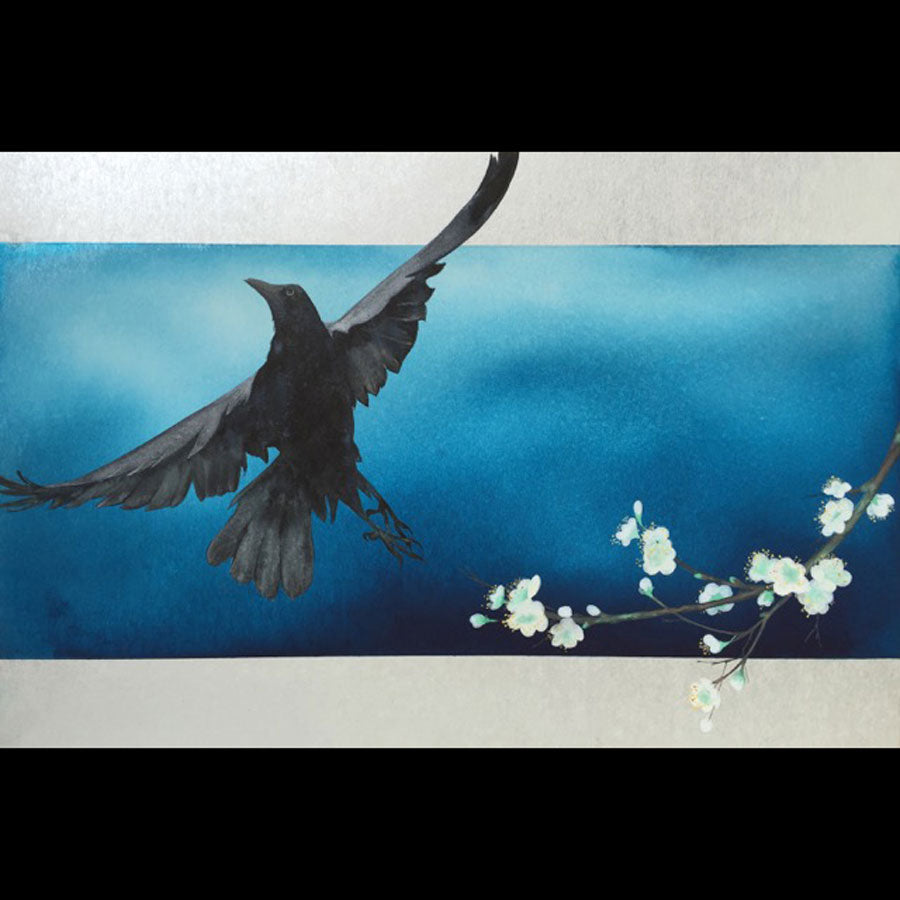 Raven's Spring original watercolor on shikishi board painting by Jackson Hole based artist Kay Stratman