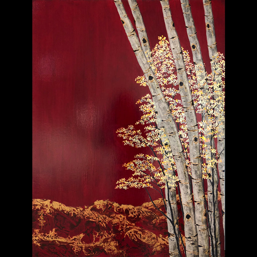 Kate McCavitt Original Painting of Aspens: Recalling Summer