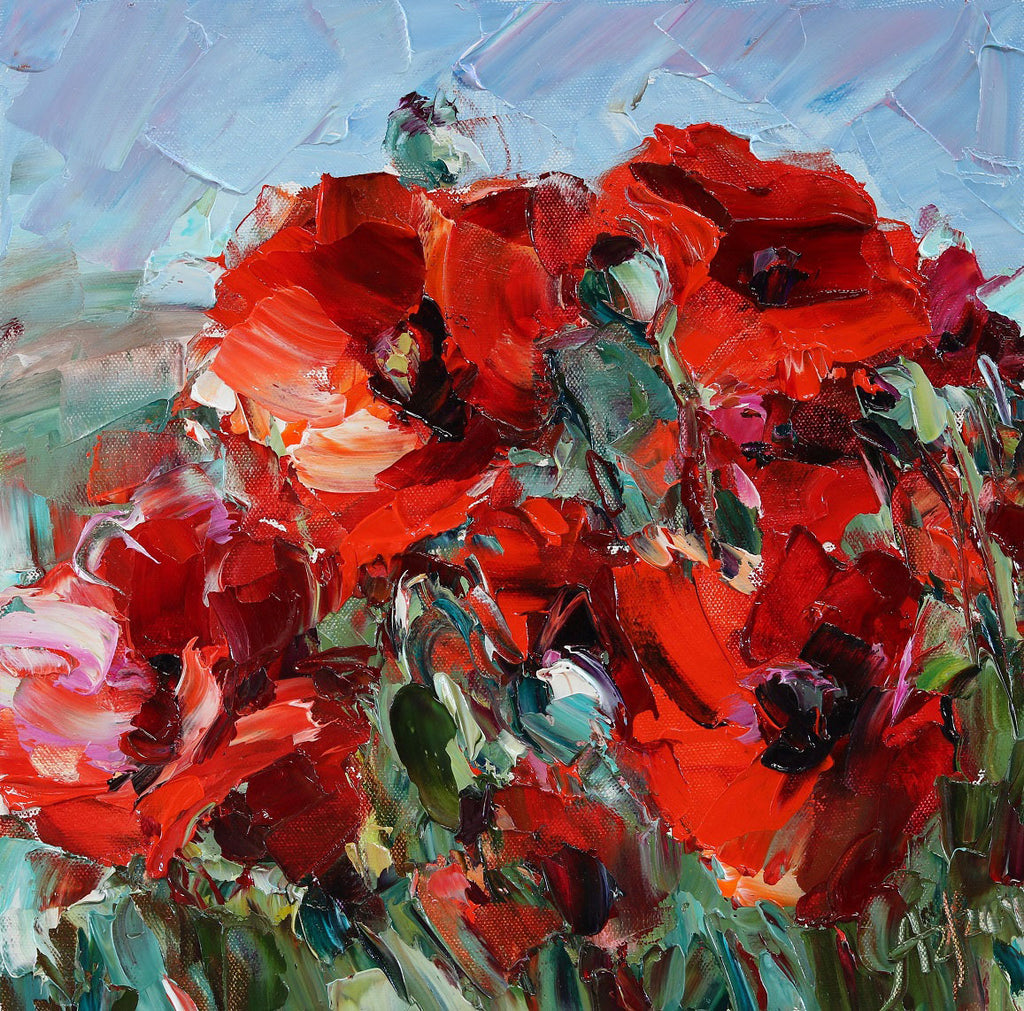 Red Poppies Original Oil on Canvas Painting by Colorado artist Lyudmila Agrich