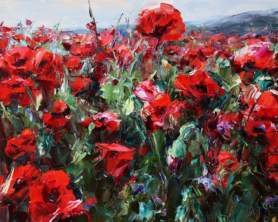 Red Poppies original flow painting by artist Lyudmila Agrich