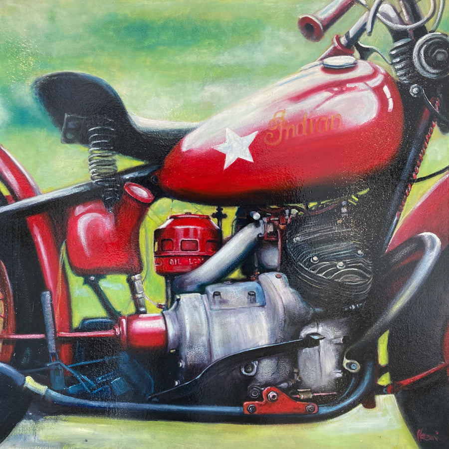 Red Indian Motorcycle painting by Noemi Kosmowski for sale at Raitman Art Galleries located in Breckenridge and Vail Colorado