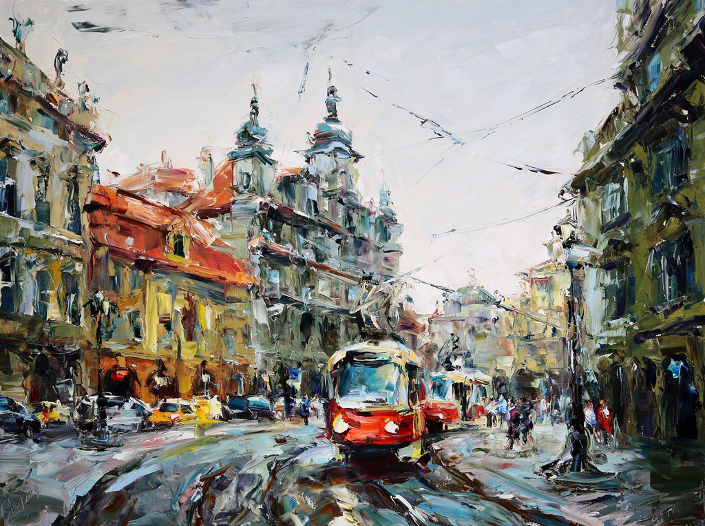 Red Tram Original Oil on Canvas Painting by Lyudmila Agrich