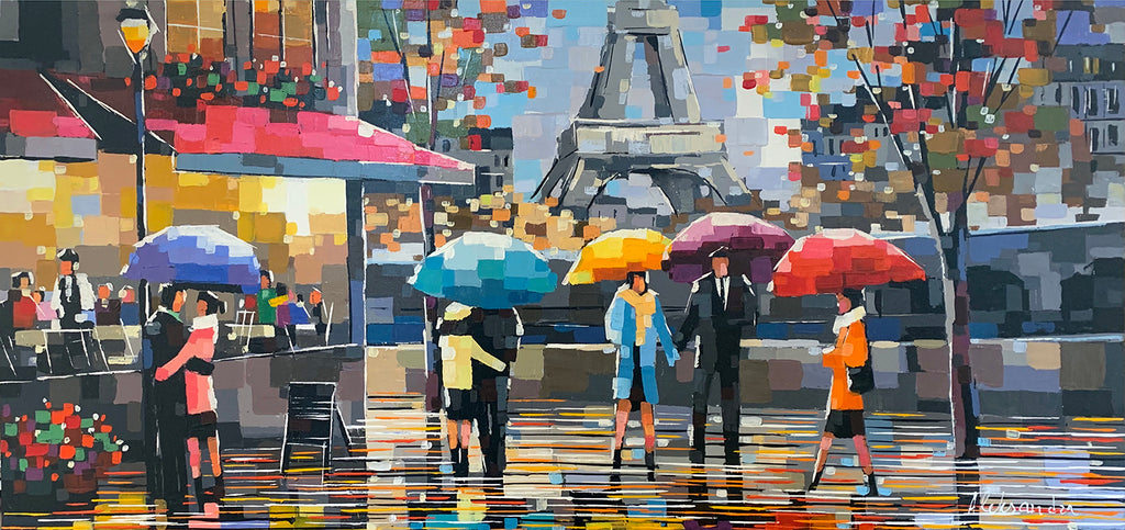 Rendezvous in Paris original acrylic on canvas painting by artist Aleksandra Rozenvain