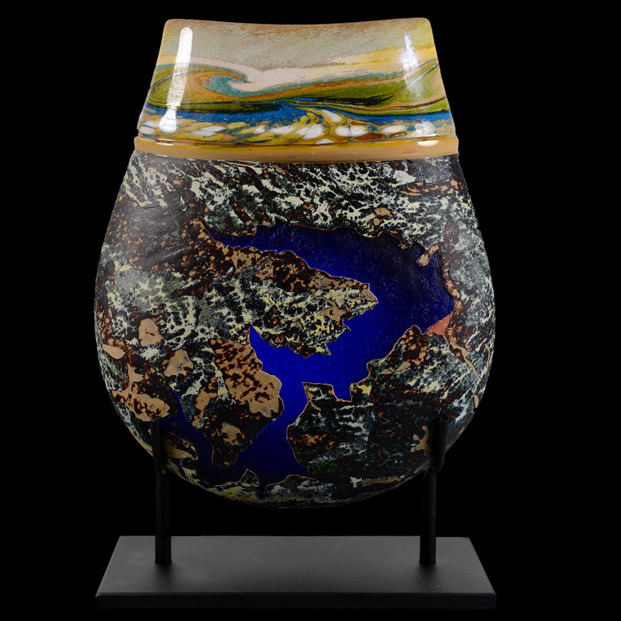 River Way Series Colorado Gross Reservoir and Goose Lake hand blown glass art by artists Jared and Nicole Davis from Crawford Colorado North Rim Studio