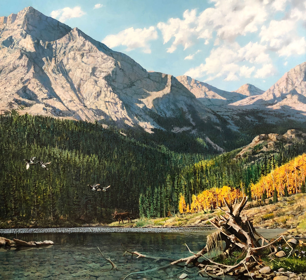 Rocky Mountain High original oil on canvas mountain landscape with fall foliage by Colorado artist Maxine Bone