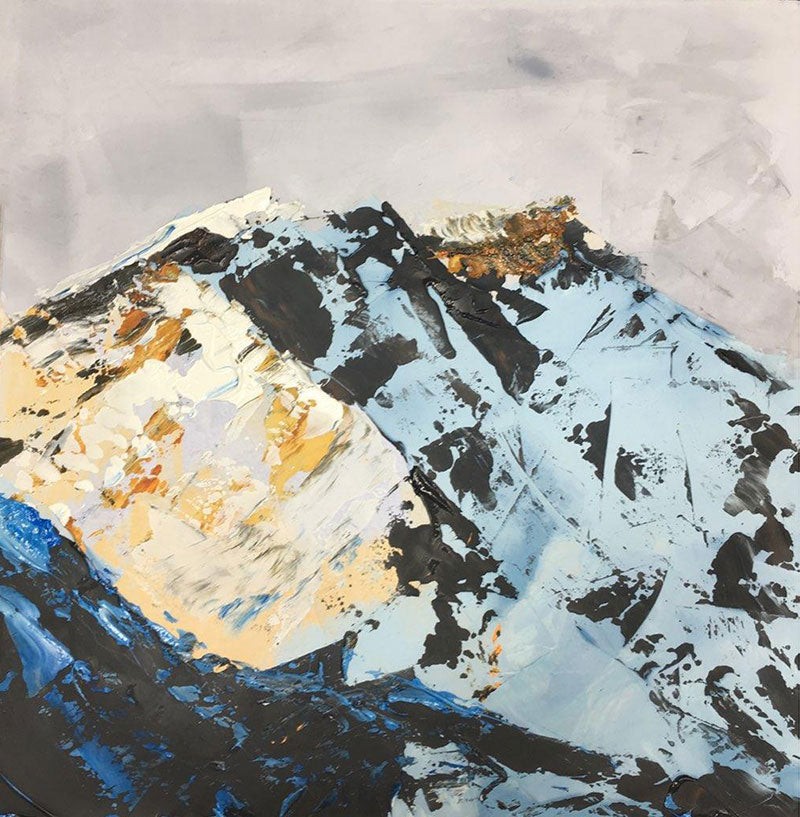 Rocky Mountains Peak original oil on Venetian Plaster painting by colorado artist Kristof Kosmowski