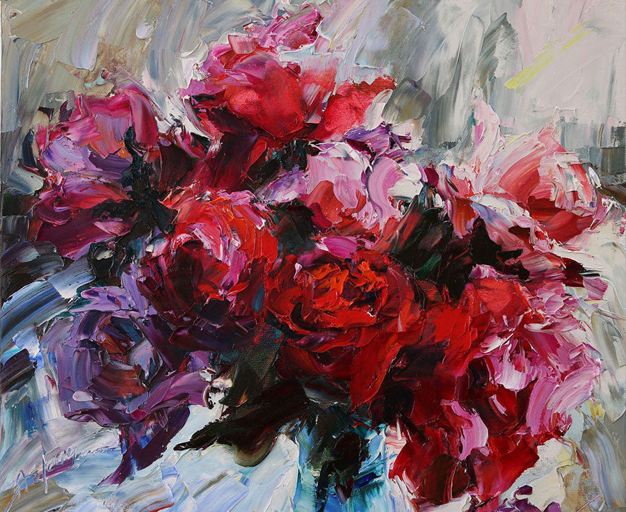 Roses oil painting by artist Lyudmila Agrich