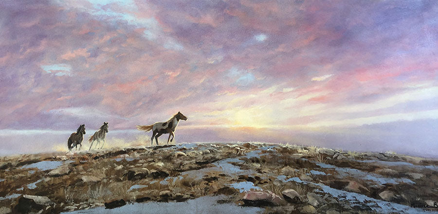 Running Free original oil on canvas landscape painting with horses by Colorado artist Maxine Bone
