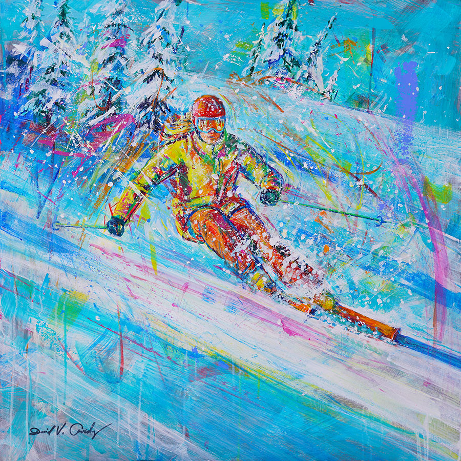 Slope Adventure original ski painting by artist David Gonzales