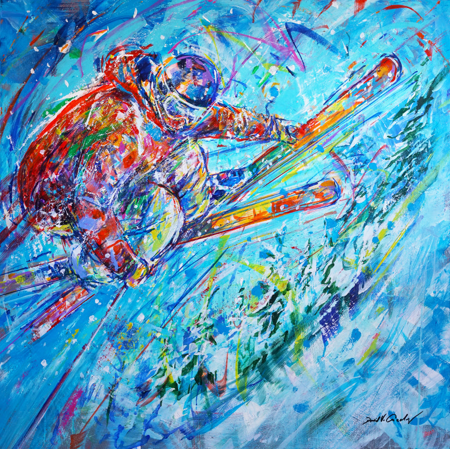 Spiral Chris Anthony ski painting by artist David V. Gonzales in Vail art gallery