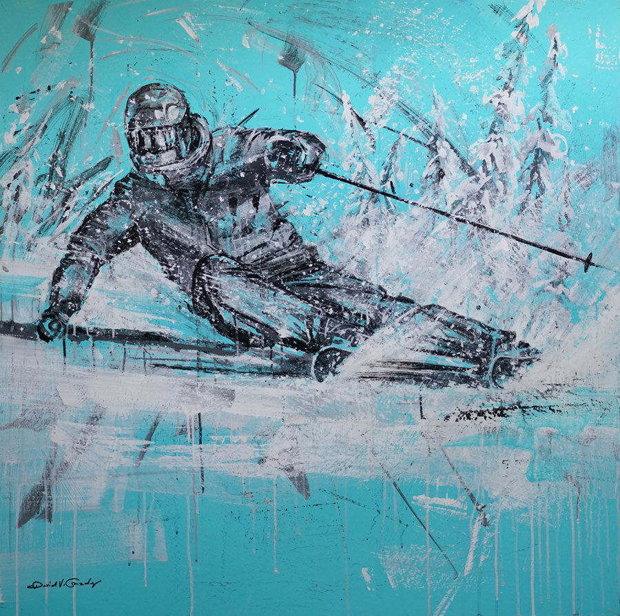 Surging Through Powder original ski painting by artist David V Gonzales