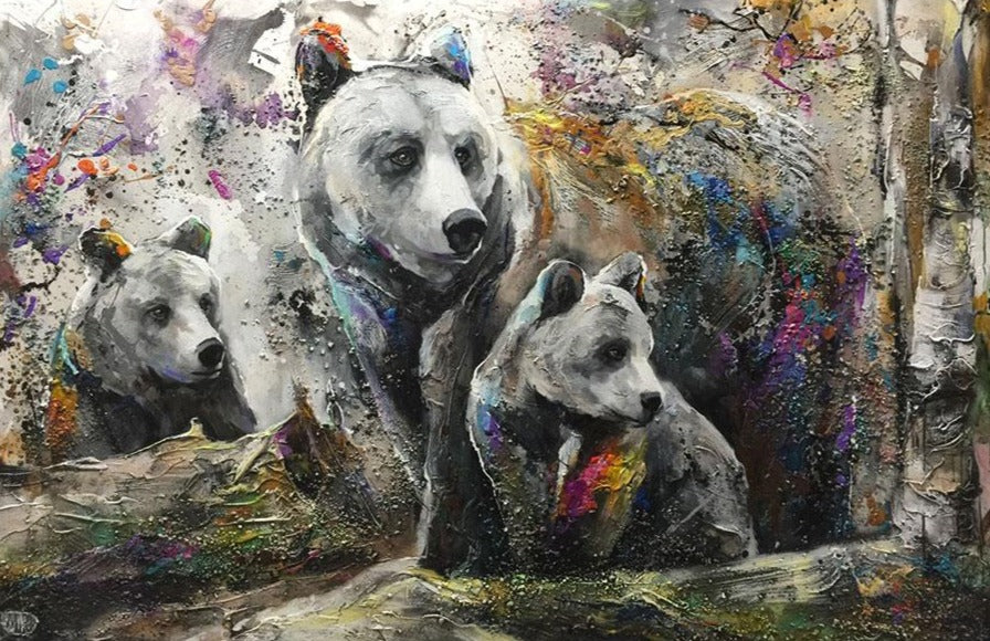 See What I See original mixed media wildlife bear family painting by artist Miri Rozenvain at raitman art galleries