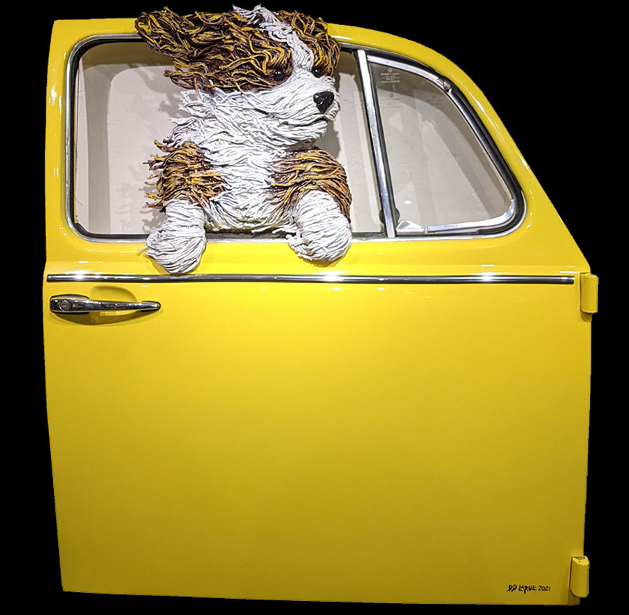 Sheepdog in a Yellow VW Door dd larue sculpture