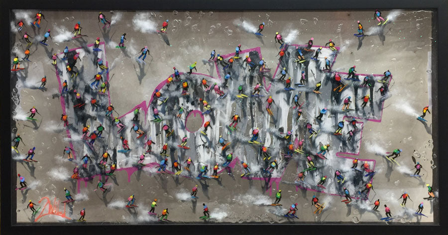 love modern art original ski painting by artist 2wild rozenvain