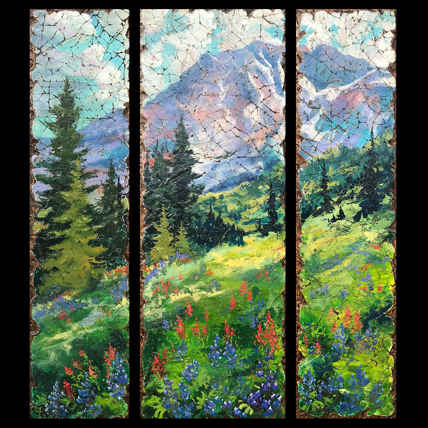 Skip in my Step original mountain landscape painting by Colorado artist Rolinda Stotts