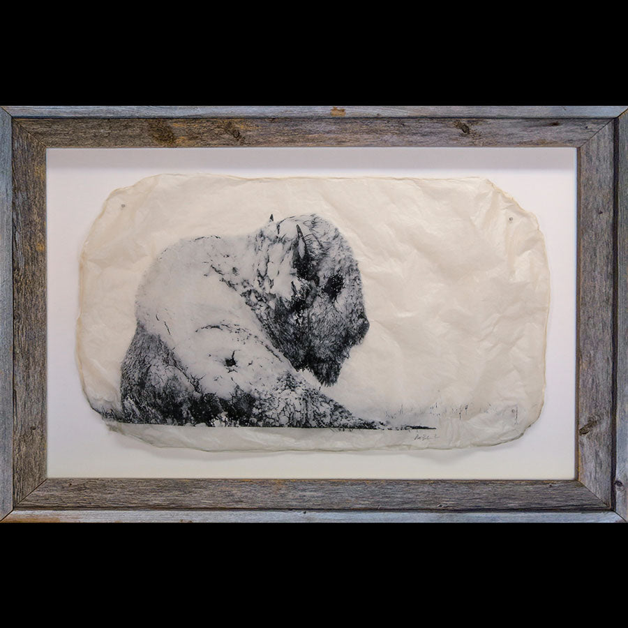 Snowman photo gampi in barnwood frame by artist Pete Zaluzec