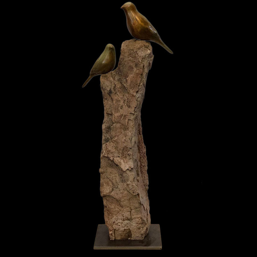 Songbird New Day bronze and stone sculpture by artist Gilberto Romero