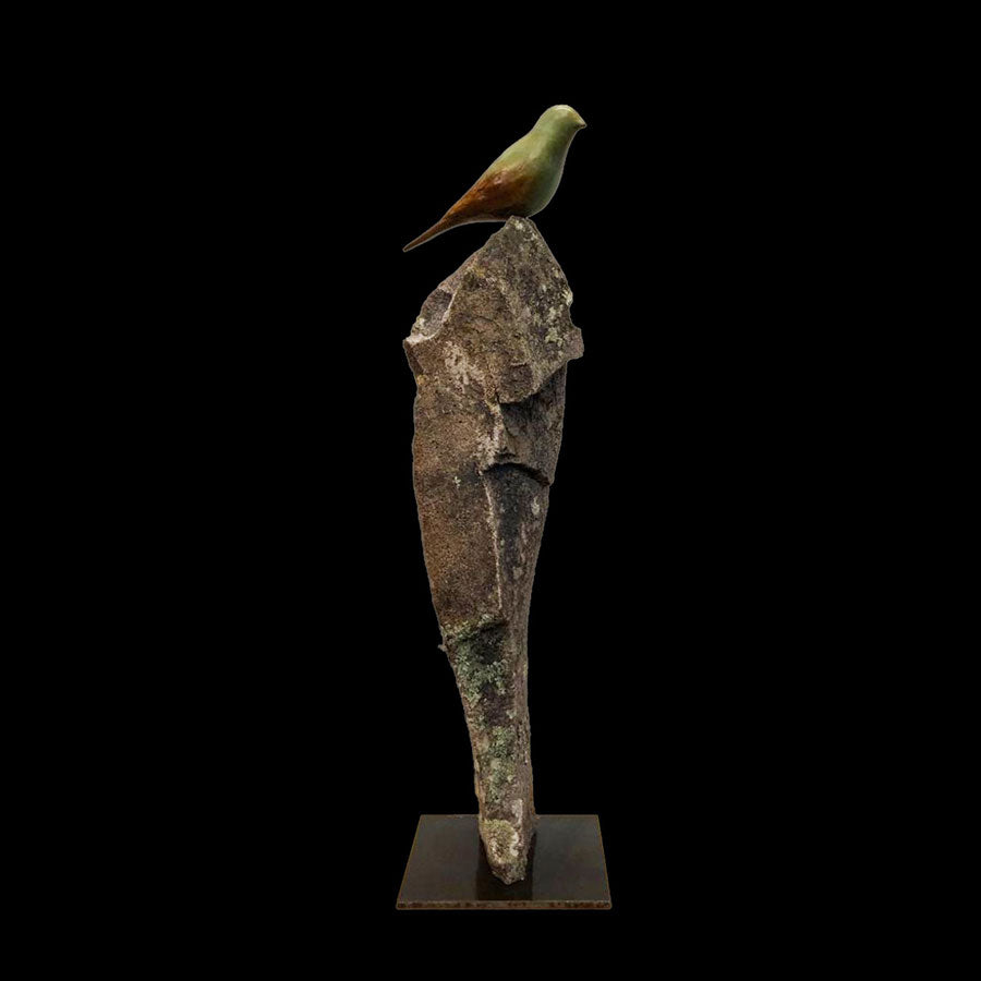 Songbird Peak bronze and stone sculpture by artist Gilberto Romero