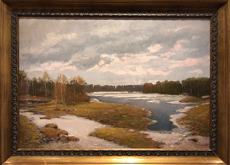 Spring Silver original oil on canvas painting by russian artist Vladimir Pavlovich Krantz