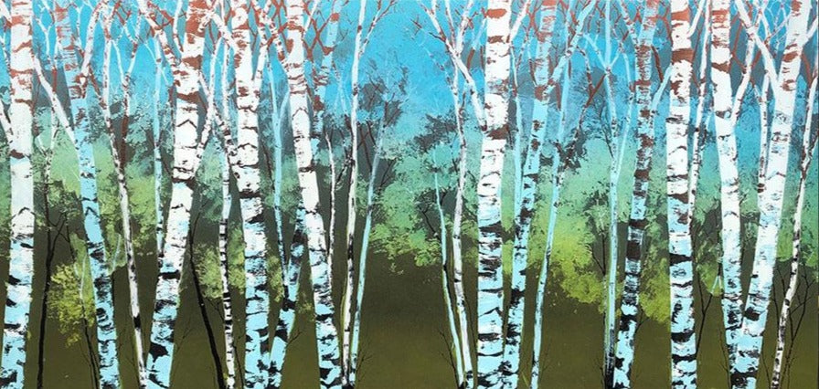 Spring Thaw original aspen tree painting on a hand carved cast acrylic canvas by Colorado based artist Christopher Owen Nelson